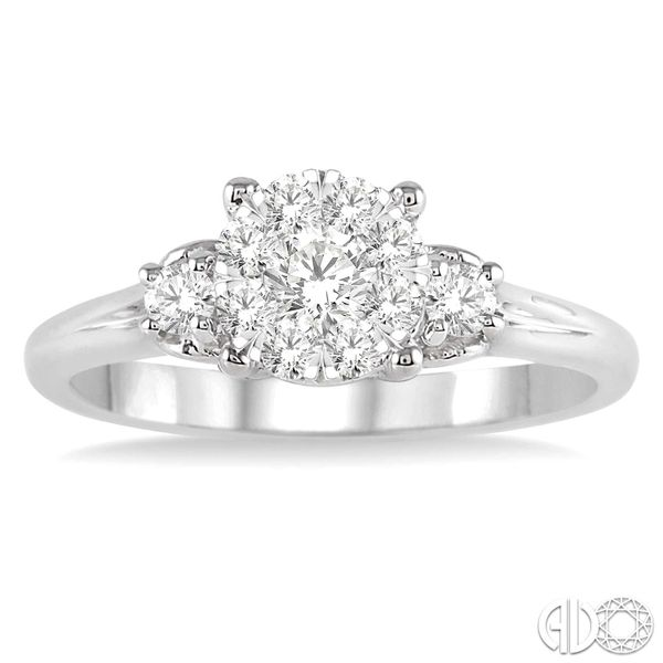 14K White Gold Three Stone Round Cluster Diamond Engagement Ring Seita Jewelers Tarentum, PA