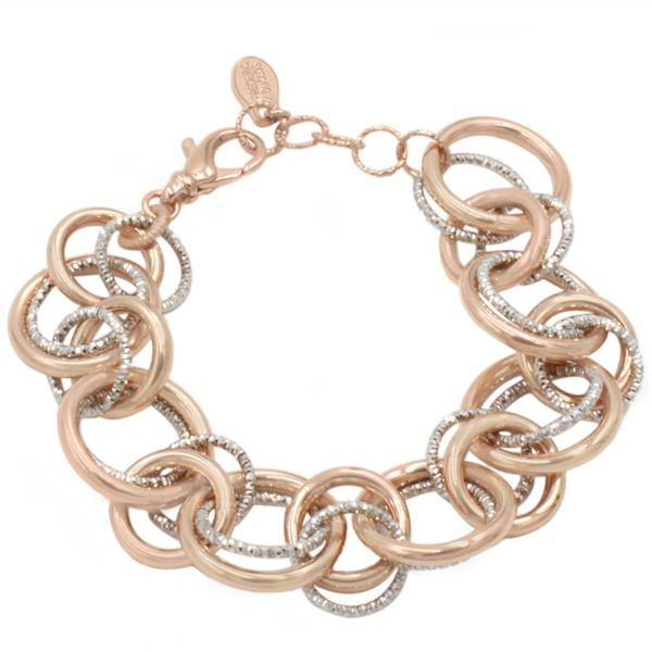 Sterling Silver/ Rose Gold Plated Two Tone Ring-A-Ling Bracelet Seita Jewelers Tarentum, PA