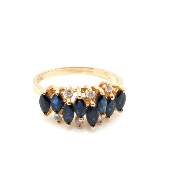 14K Yellow Gold Marquise Cut Blue Sapphire Fashion Ring Seita Jewelers Tarentum, PA