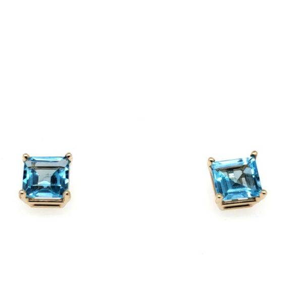 14K Yellow Gold Square Blue Topaz Earrings Seita Jewelers Tarentum, PA