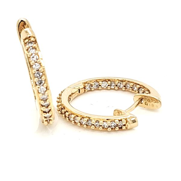 18K Yellow Gold Diamond Hoop Earrings Seita Jewelers Tarentum, PA