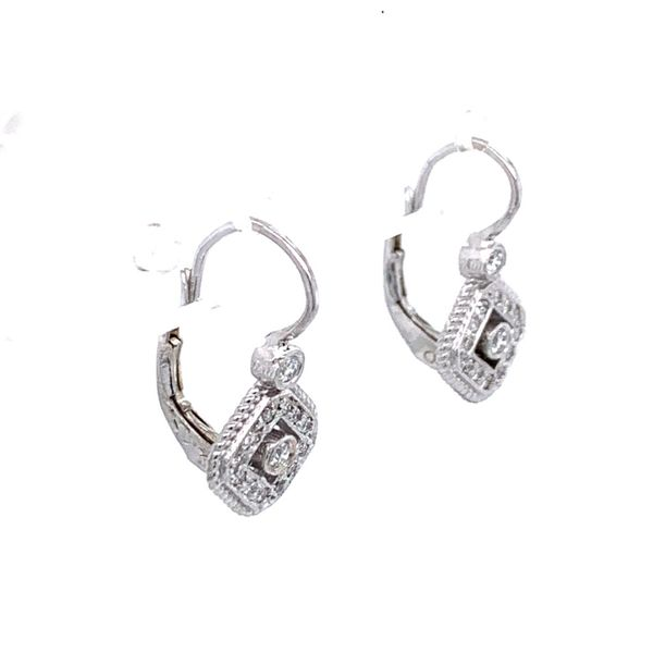 Diamond Etruscan Lever Back Earrings Image 2 Simones Jewelry, LLC Shrewsbury, NJ