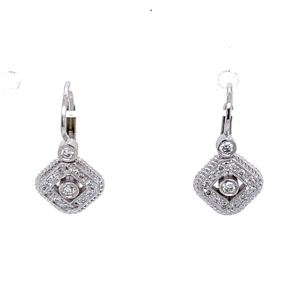 Diamond Etruscan Lever Back Earrings Simones Jewelry, LLC Shrewsbury, NJ