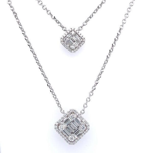 Baguette and Round Double Diamond Drop Necklace Simones Jewelry, LLC Shrewsbury, NJ