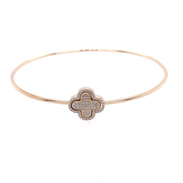 Gold Diamond Clover Bangle Image 2 Simones Jewelry, LLC Shrewsbury, NJ