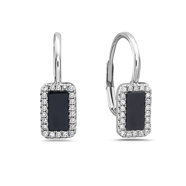 Black Agate Diamond Leverback Earrings Simones Jewelry, LLC Shrewsbury, NJ