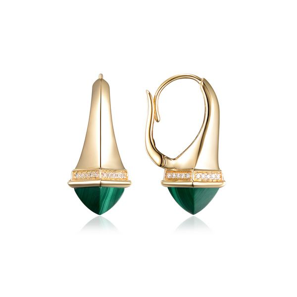 Malachite & Diamond Earrings Simones Jewelry, LLC Shrewsbury, NJ