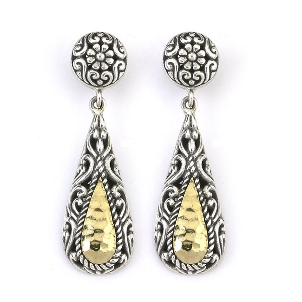 Sterling Silver & 18K Hammered Tear Drop Earrings w/ post Simones Jewelry, LLC Shrewsbury, NJ