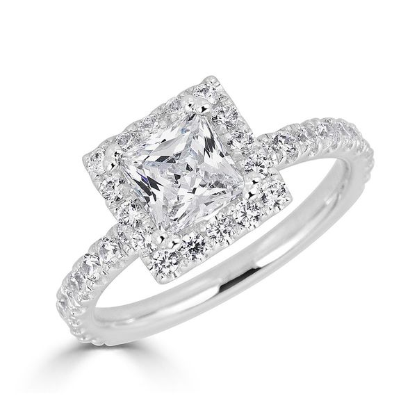 S. Lennon Bridal Collection - Halo Engagement Ring Princess Cut 18KT WG 1.75ctw PR CTR S. Lennon & Co Jewelers New Hartford, NY