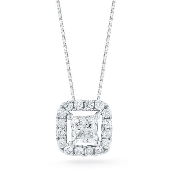 S Lennon Classics Princess Cut Halo Pendant 14Kt WG TCW 1.01 S. Lennon & Co Jewelers New Hartford, NY