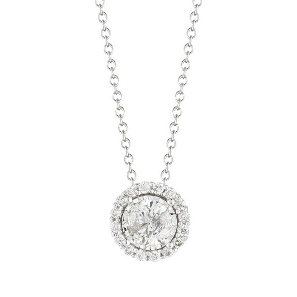 S. Lennon Classics - White 14 Karat Free Form Necklace & Pendant With One .26Ct Round Diamond S. Lennon & Co Jewelers New Hartford, NY