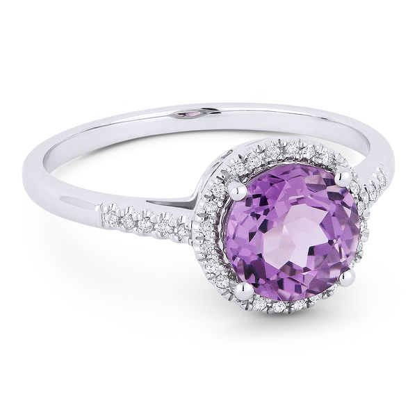 Madison L White 14 Karat Fashion Ring With Round Amethysts And 34=0.07Tw Round Diamonds S. Lennon & Co Jewelers New Hartford, NY