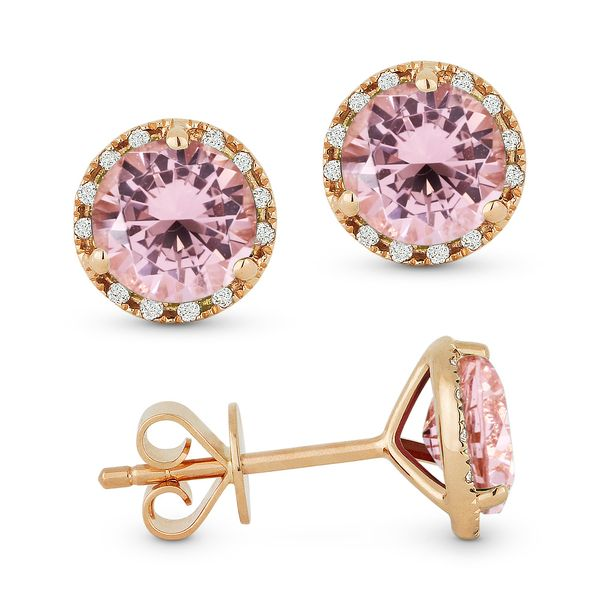 Madison L Rosé 14 Karat Stud Earrings With Round Morganites And 24=0.07Tw Round Diamonds S. Lennon & Co Jewelers New Hartford, NY