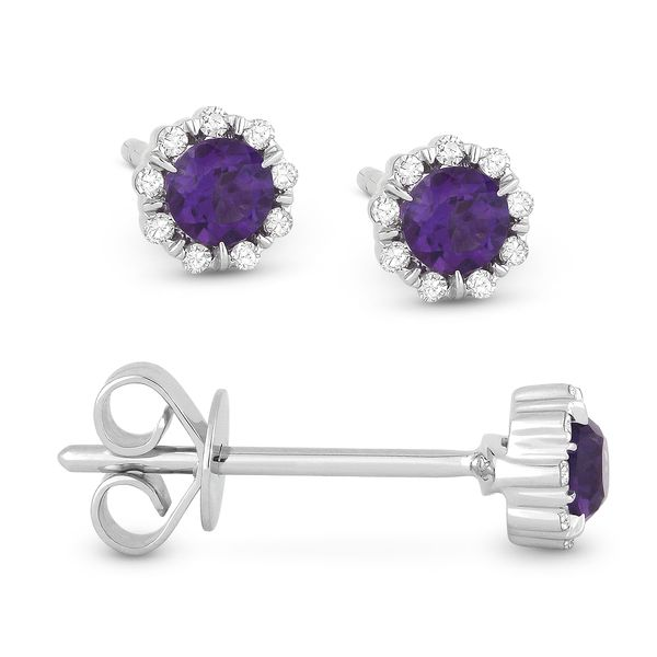 Madison L White 14 Karat Stud Earrings With Round Amethysts And 18=0.05Tw Round Diamonds S. Lennon & Co Jewelers New Hartford, NY