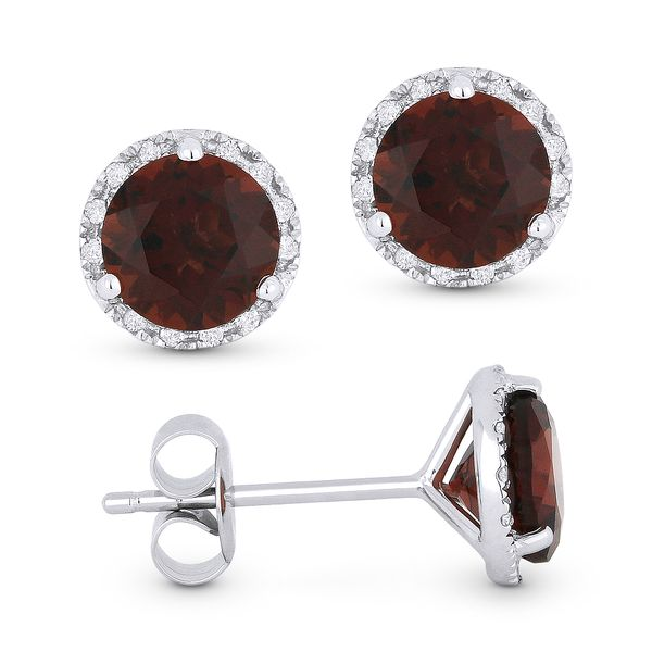 Madison L White 14 Karat Stud Earrings With Round Garnets And 24=0.07Tw Round Diamonds S. Lennon & Co Jewelers New Hartford, NY