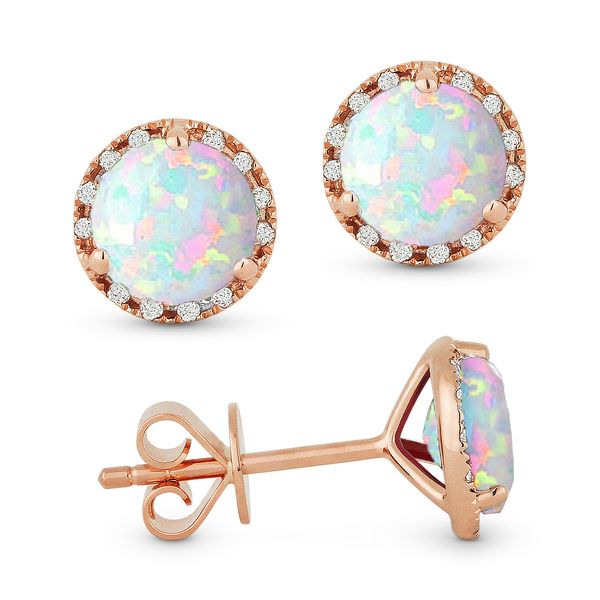 Madison L Rosé 14 Karat Stud Earrings With Round Opals And 24=0.07Tw Round Diamonds S. Lennon & Co Jewelers New Hartford, NY