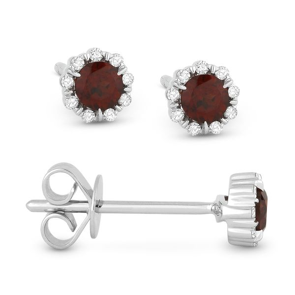 Madison L White 14 Karat Stud Earrings With Round Garnets And 18=0.05Tw Round Diamonds S. Lennon & Co Jewelers New Hartford, NY