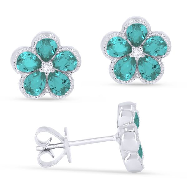 Madison L White 14 Karat Stud Earrings With Pear Paraiba Tourmalines And 2=0.03Tw Round Diamonds S. Lennon & Co Jewelers New Hartford, NY