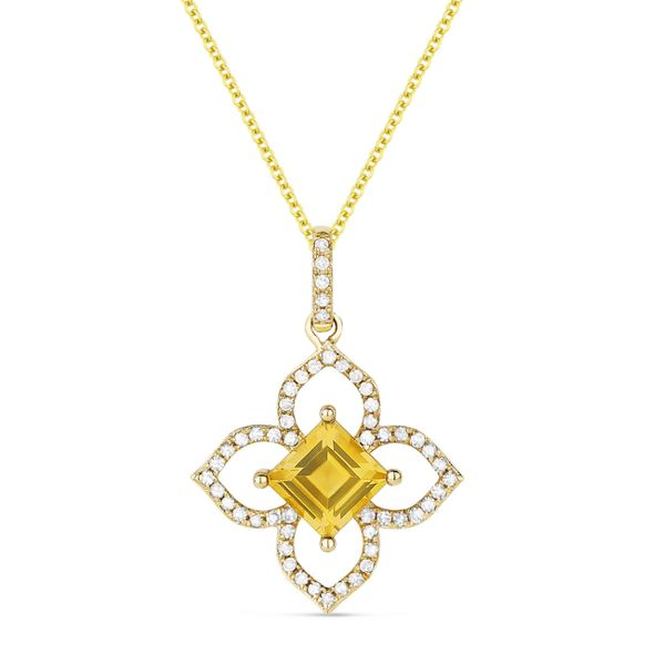 Madison L Yellow 14 Karat Pendants With Square Cushion Citrines And 53=0.17Tw Round Diamonds S. Lennon & Co Jewelers New Hartford, NY