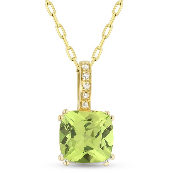 Madison L Yellow 14 Karat Pendants With Square Cushion Peridots And 5=0.02Tw Round Diamonds S. Lennon & Co Jewelers New Hartford, NY