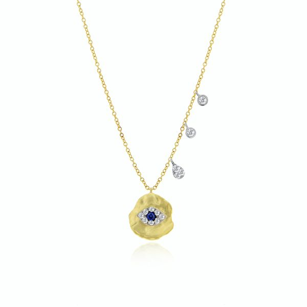 Meira T Yellow 14 Karat Necklace With One 0.10Ct Round Diamond And One 0.05Ct Round Sapphire S. Lennon & Co Jewelers New Hartford, NY