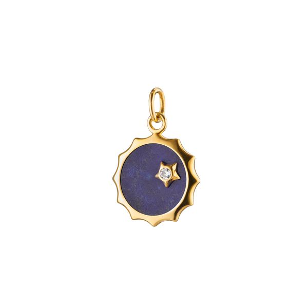 Monica Rich Kosann 18K Yellow Gold Sun Shaped Pendant With One 0.03Ct Round Diamond S. Lennon & Co Jewelers New Hartford, NY