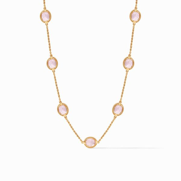 Julie Vos Calypso Delicate Station Necklace Gold Chalcedony Blue S. Lennon & Co Jewelers New Hartford, NY