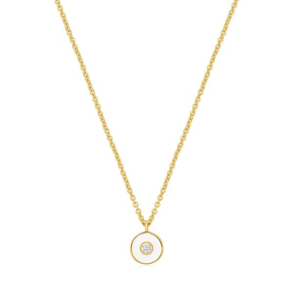 Ania Haie Optic White Enamel Disc Gold Necklace S. Lennon & Co Jewelers New Hartford, NY