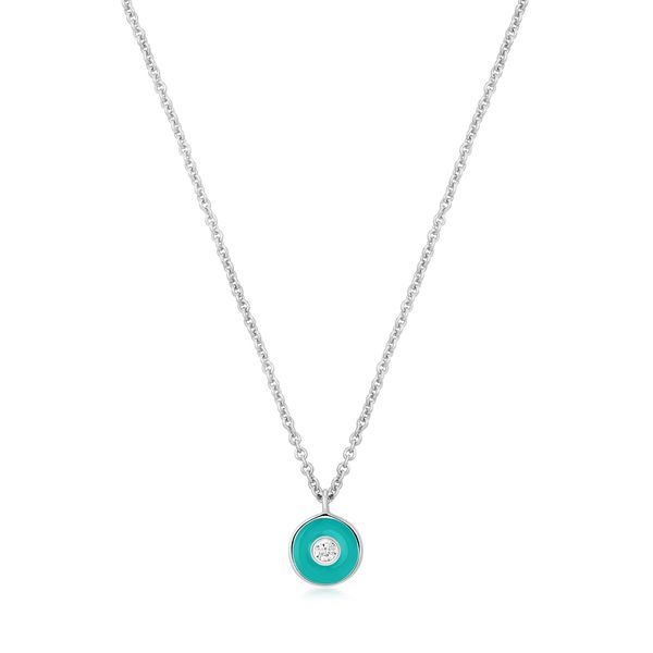 Ania Haie Teal Enamel Disc Silver Necklace S. Lennon & Co Jewelers New Hartford, NY