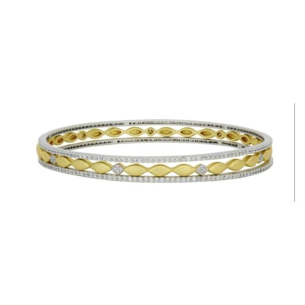 FREIDA ROTHMAN HOPE COLLECTION -  PETALS AND PAVÉ 3-STACK SLIDE ON BANGLES S. Lennon & Co Jewelers New Hartford, NY