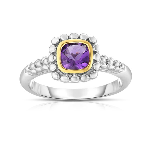Phillip Gavriel Sterling Silver & 18K Gold Quadra Popcorn Ring with Amethyst S. Lennon & Co Jewelers New Hartford, NY