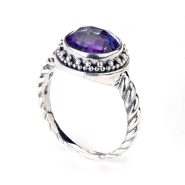 Samuel B. Sterling Silver Round 10MM Amethyst Ring w/Twisted Shank S. Lennon & Co Jewelers New Hartford, NY