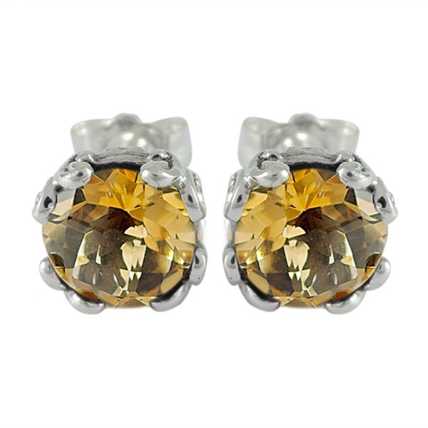 Samuel B. Silver Stud Earrings With 2= Round Citrines S. Lennon & Co Jewelers New Hartford, NY