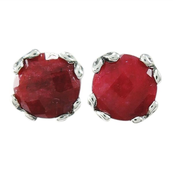 Samuel B. Silver Stud Earrings With 2= Round Rubys S. Lennon & Co Jewelers New Hartford, NY