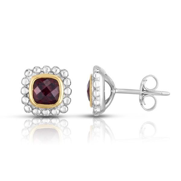 Phillip Gavriel Sterling Silver & 18K Gold Quadra Popcorn Studs Garnet S. Lennon & Co Jewelers New Hartford, NY