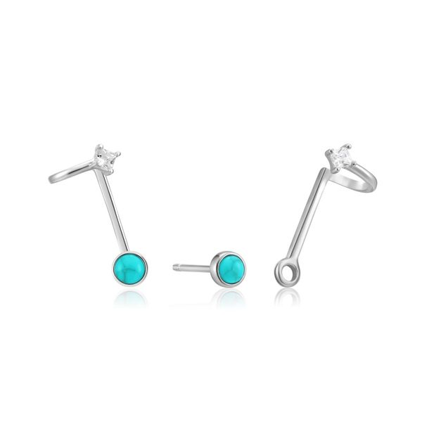 Ania Haie Silver Tidal Turquoise Double Stud Earrings S. Lennon & Co Jewelers New Hartford, NY