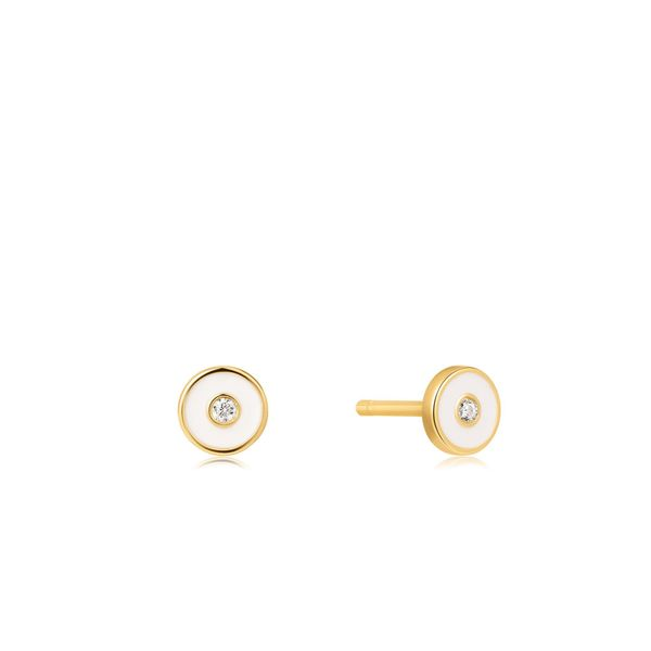 Ania Haie Optic White Enamel Disc Gold Stud Earrings S. Lennon & Co Jewelers New Hartford, NY