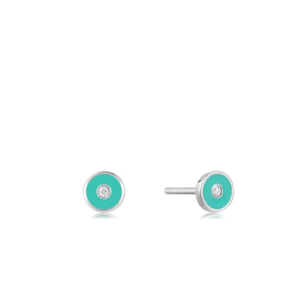 Ania Haie Teal Enamel Disc Silver Stud Earrings S. Lennon & Co Jewelers New Hartford, NY