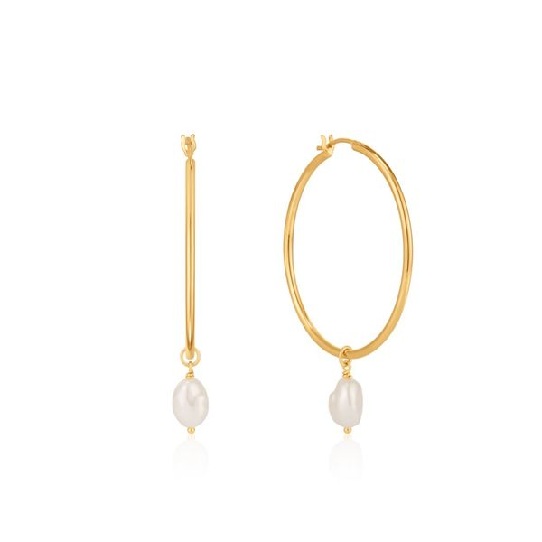 Ania Haie Gold Pearl Hoop Earrings S. Lennon & Co Jewelers New Hartford, NY
