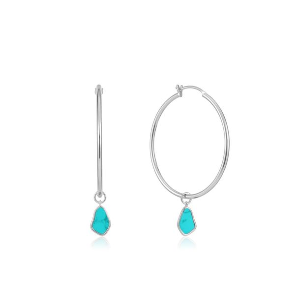 Ania Haie Silver Tidal Turquoise Drop Hoop Earrings S. Lennon & Co Jewelers New Hartford, NY