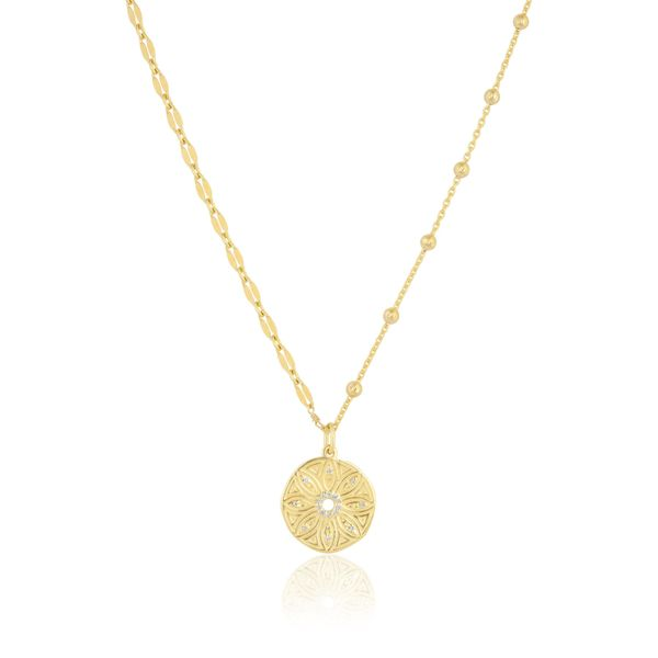 Ela Rae  Mini Flower Medallion - Half Cut Out Chain - S. Lennon & Co Jewelers New Hartford, NY