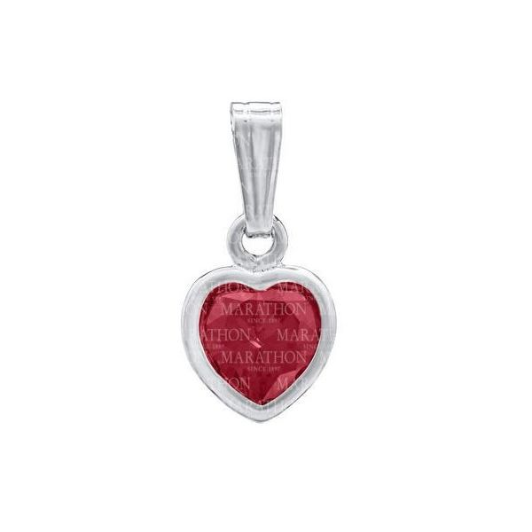 July Birthstone Sterling Silver Heart Pendant S. Lennon & Co Jewelers New Hartford, NY