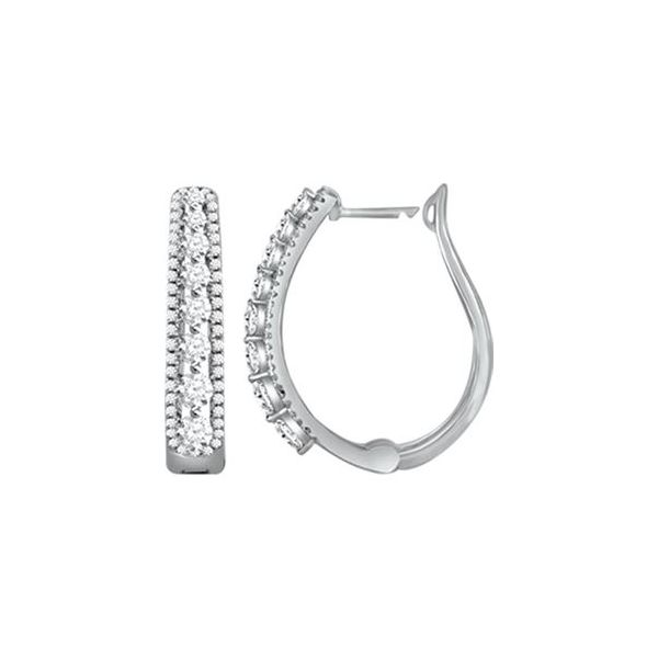 10K White Gold 1.50ct Diamond Hoop Earrings Smith Jewelers Franklin, VA