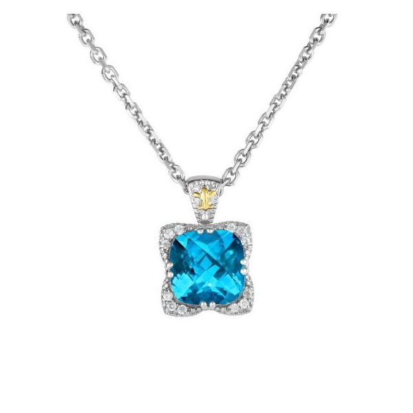 Sterling Silver 18kt Yellow Gold Rhodium Finish Pendant 0.1200ct Diamond 10mm Cushion Light Swiss Blue Topaz on Sterling Silver  Smith Jewelers Franklin, VA