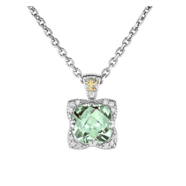 Sterling Silver 18k Yellow Gold Rhodium Finish Pendant 0.1200ct Diamond 10mm Cushion Green Amethyst on Sterling Silver 18