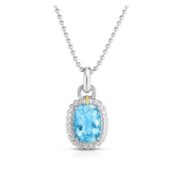 Sterling Silver 18k Yellow Gold Rhodium Finish 29x15.5mm Diamond Cut Popcorn Pendant with 14x10mm Cushion Sky Blue Topaz Silver  Smith Jewelers Franklin, VA
