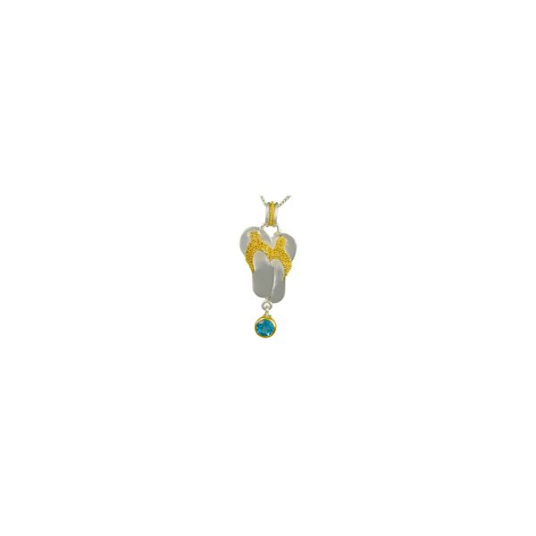 Flip Flop Sterling Silver and 22K Gold Vermeil Pendant with Baby Blue Topaz Smith Jewelers Franklin, VA