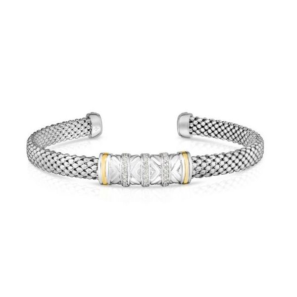 18kt Silver Yellow Rhodium Finish 6mm Shiny Popcorn Cuff Bar Bangle with 0.1350ct 1mm White Diamond Smith Jewelers Franklin, VA