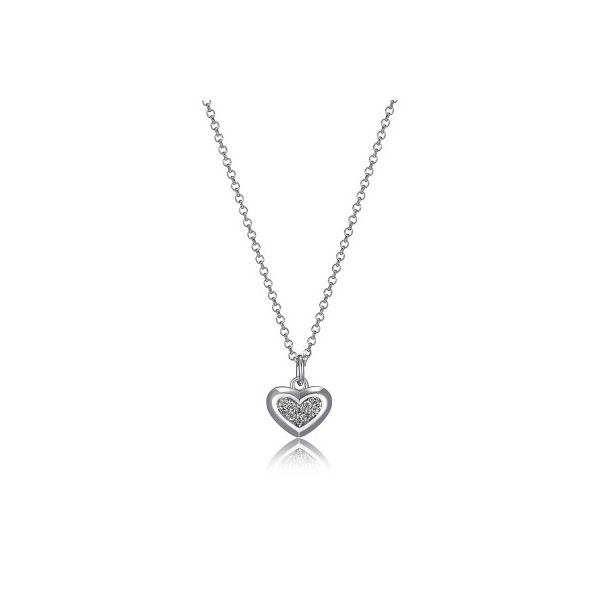 Elle Humanity Sterling Silver Rhodium CZ Heart Necklace Smith Jewelers Franklin, VA