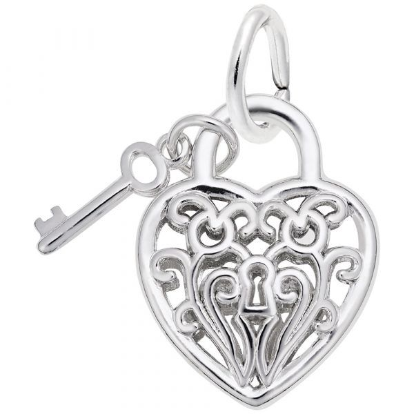 Sterling Silver Filigree Heart & Key Charm Smith Jewelers Franklin, VA